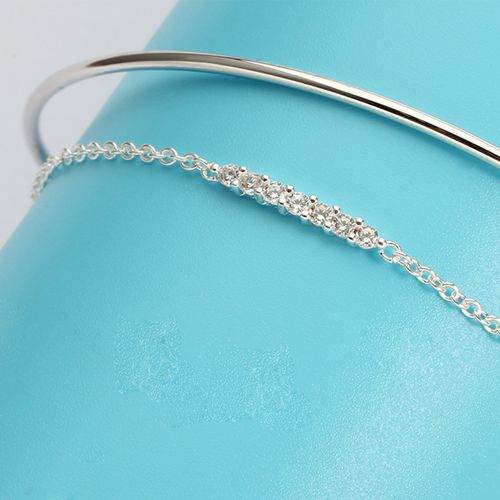 925 sterling silver cubic zirconia charm bangle