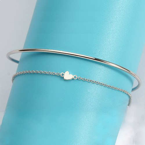 925 sterling silver heart charm chain bangle