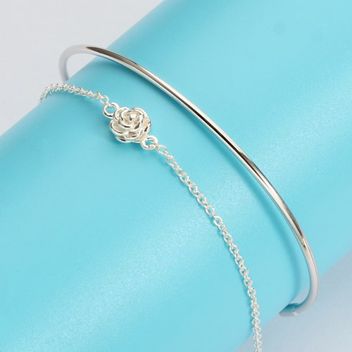 925 sterling silver rose bangle,accessories for women