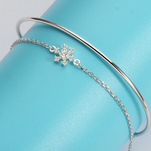 925 sterling silver snowflake chain bangle