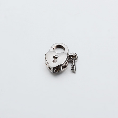 925 sterling silver heart lock clasp with key