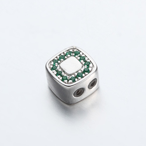 925 sterling silver cz square slider beads