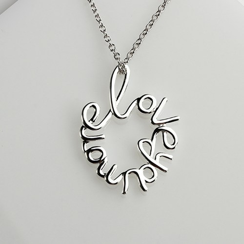Sterling silver letter word LOVEYOUMORE pendant