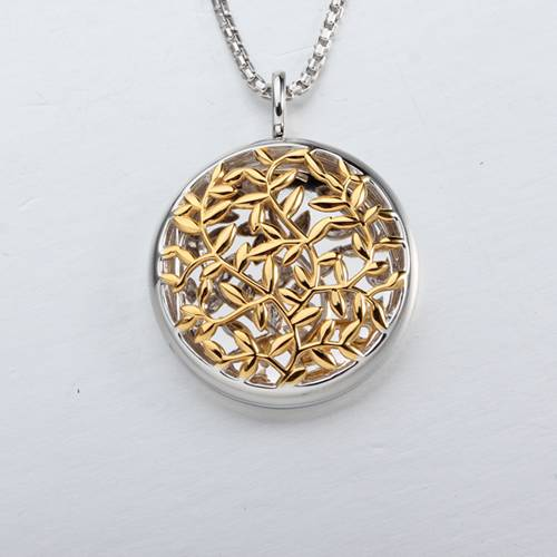 925 sterling silver leaf locket pendant