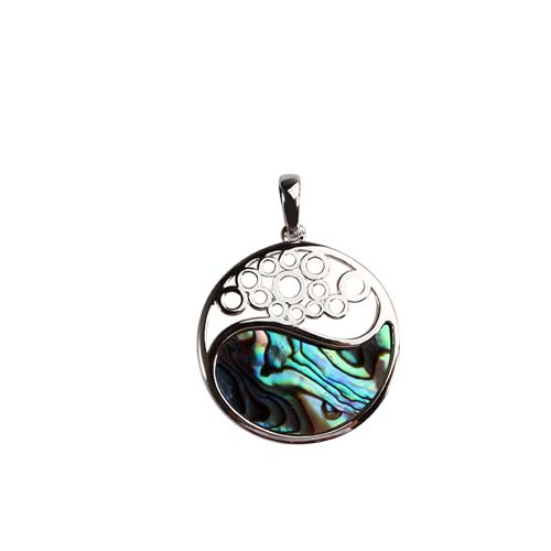 925 sterling silver abalone shell round pendant