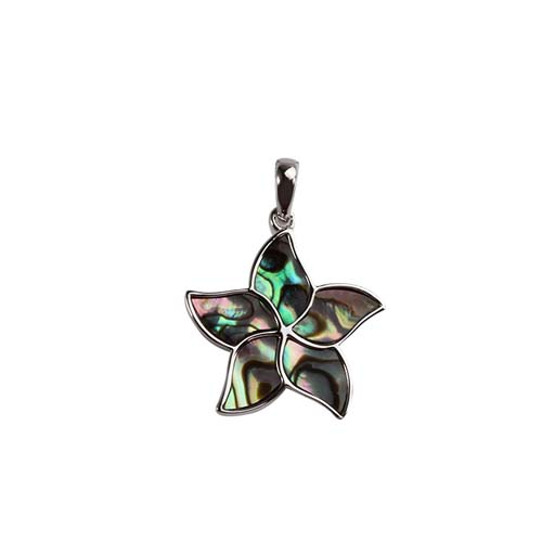 925 sterling silver abalone shell starfish pendant