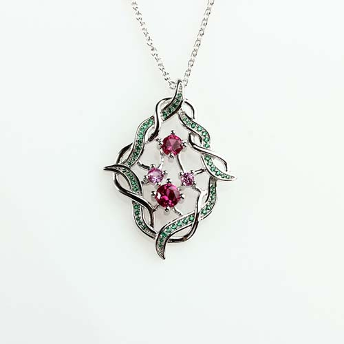 Wholesale 925 sterling silver cz flower pendant