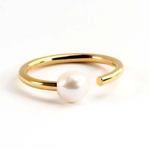 925 sterling silver minimalist pearl open ring