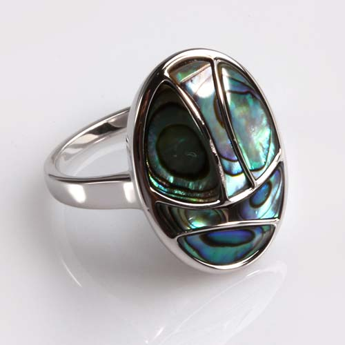 925 sterling silver abalone shell ring