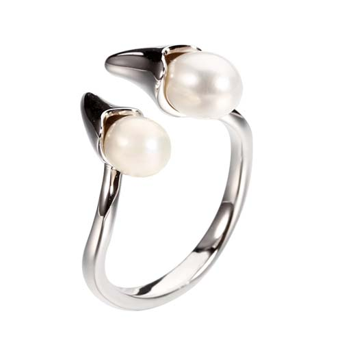 925 sterling silver pearls adjustable ring