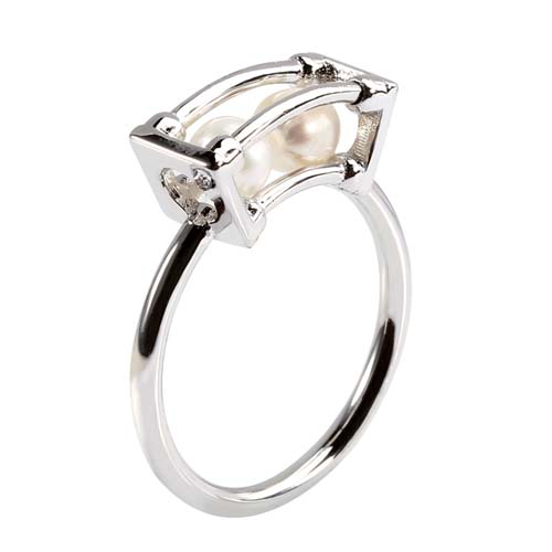 Wholesale 925 sterling silver double pearl ring