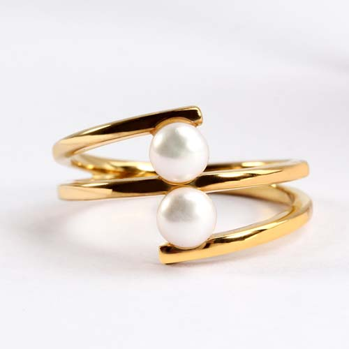 Wholesale 925 sterling silver pearls layered ring