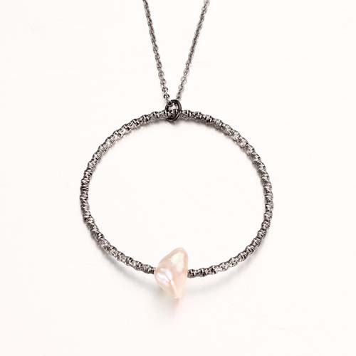 925 sterling silver pearl flexible ring pendant