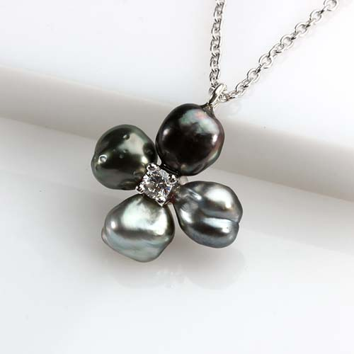 925 silver cz Tahitian black pearl clover pendant