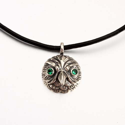 925 sterling silver cz round owl pendant wholesale