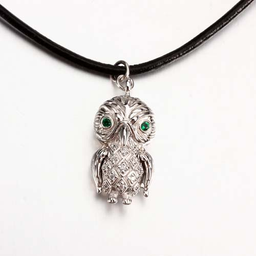 925 sterling silver cz owl pendant wholesale