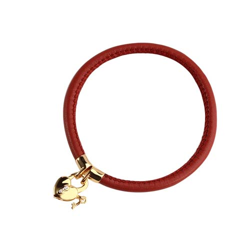925 sterling silver leather cz heart lock bangle bracelet
