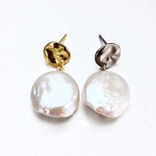 Sterling silver large baroque pearl earrings