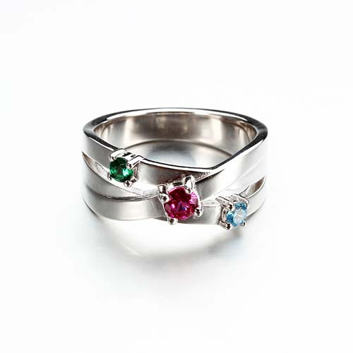 925 sterling silver cz criss cross band ring