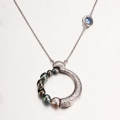 Sterling silver black tahitian pearl moon necklace