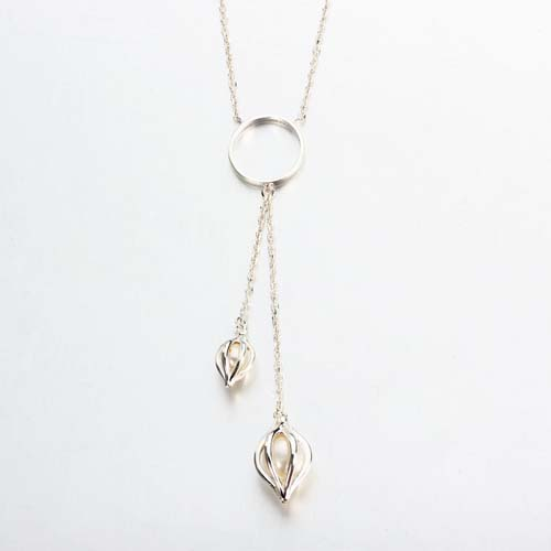 Fashion 925 silver pearl double bud long necklace