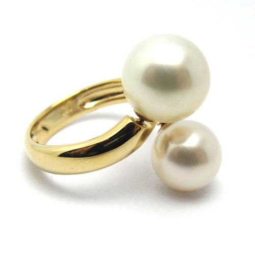 18k gold double pearl ring jewelry mounting