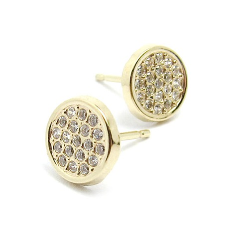 9k gold cubic zirconia round stud earrings