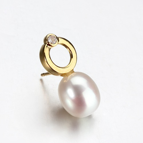 18k gold freshwater pearl diamond earrings
