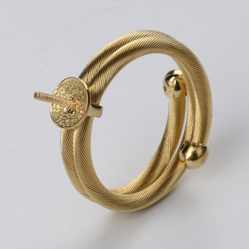 18k gold screw two layers ring mounting