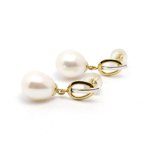 18k gold freshwater pearl drop earrings