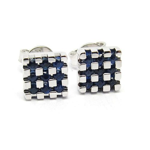 18k gold blue sapphire square earring post