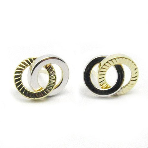 9k gold interlocked double ring stud earrings
