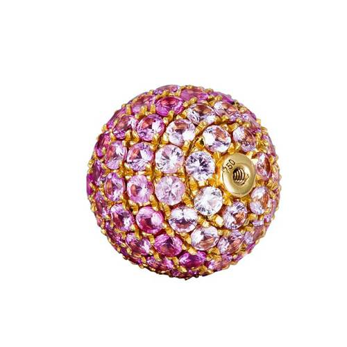 18k gold ruby pave screw ball pendant - 11mm