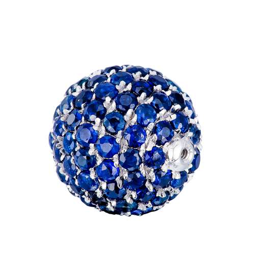 18k gold sapphire pave screw ball pendant - 11mm