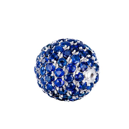 18k gold sapphire pave screw ball pendant - 9mm