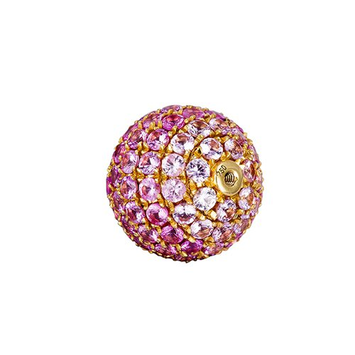 18k gold ruby pave screw ball pendant - 9mm