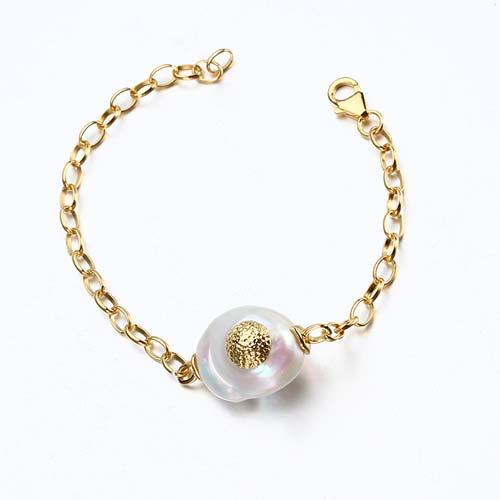 Sterling silver baroque coin pearl charm bracelet