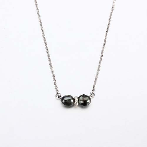 925 sterling silver Tahiti black pearl necklace