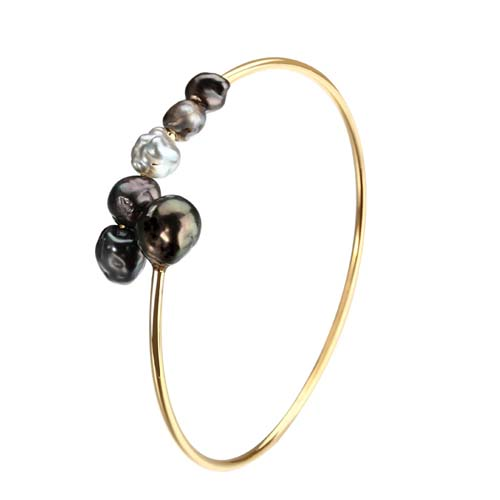925 silver Tahitian black pearls adjustable bangle