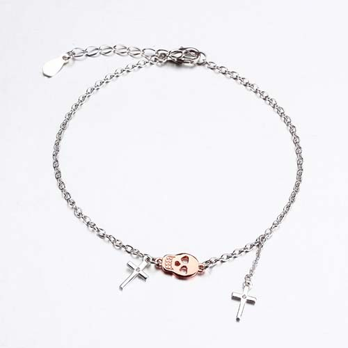 Halloween sterling silver skull cross bracelet