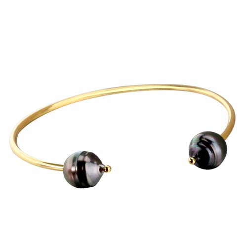 Tahitian black pearl 925 sterling silver cuff bangle