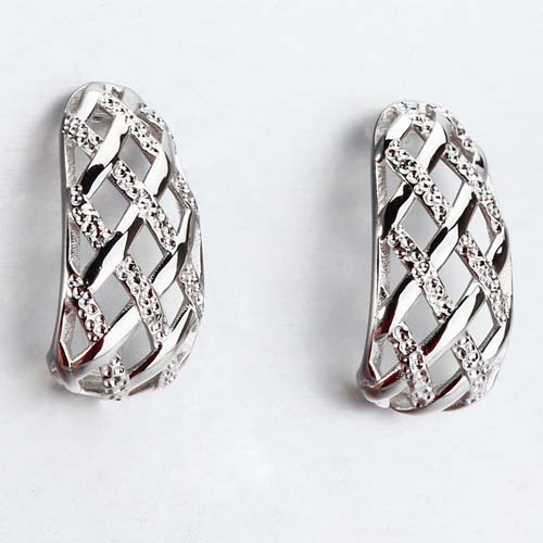 925 sterling silver curved mesh earrings