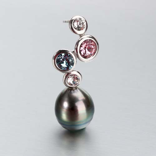 925 sterling silver tahiti pearl colored cz earrings
