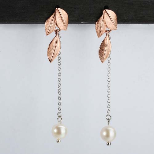 925 sterling silver pearl leaf drop earrings