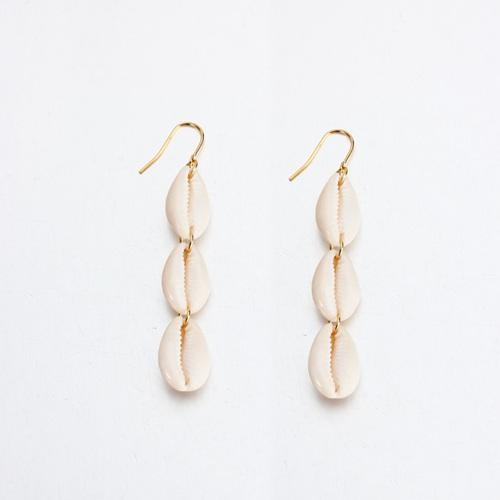 Sterling silver hypoallerge natural cowrie shell earrings