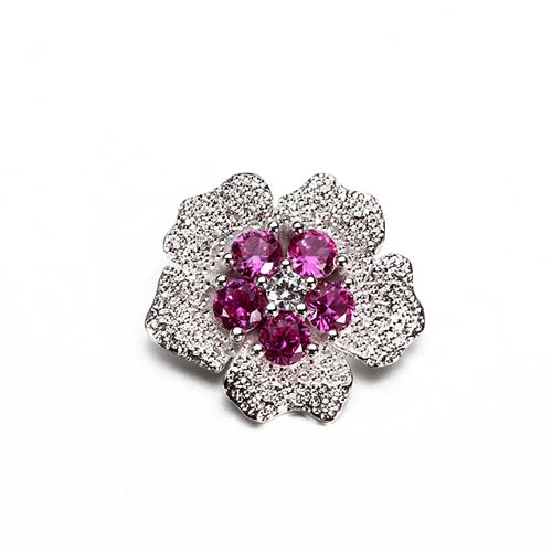 Micro pave cz silver luxury flower pendant