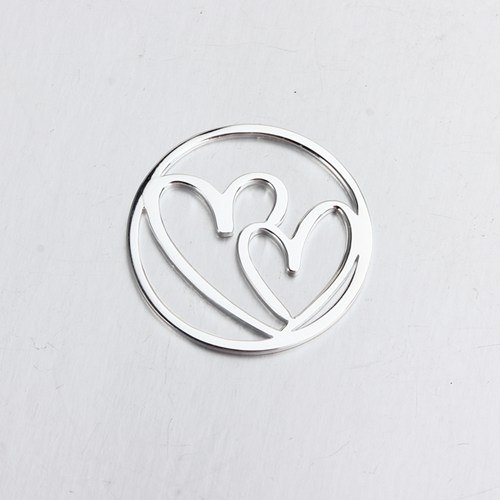 925 sterling silver double love heart pendant