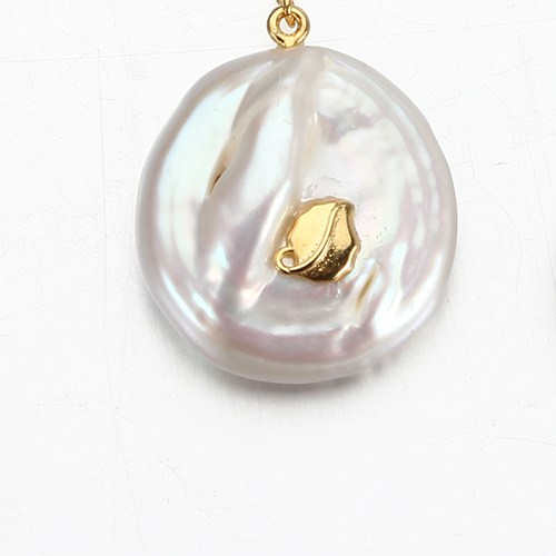 925 sterling silver coin baroque pearl leaf charm