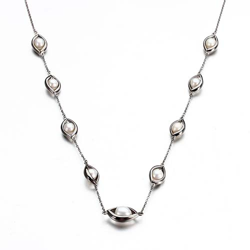 925 sterling silver freshwater pearl eye-shaped necklace