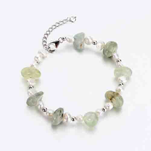 925 sterling silver gemstone bracelet with baroque pearl